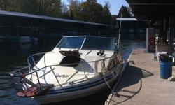 Great family boat on the water, Sleeps 5 with mid aft cabin for 2 kids, 305 V8. appr 800 hours on engine, gauge broken, New outdrive last July. Comes fully equipped with all life jackets anchor flares, full camper top in great condition, shore power,