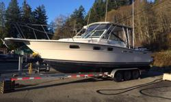 1990 Tiara 2700, 27' X 10' beam, twin 2008 Mercury Verado's 200HP each, 810 hours, motors come with with a 30 day warranty from the Mercury dealer, Alpine Marine, all fly by wire controls and digital gauges. Two C120W Raymarine chart plotter/fish-finder