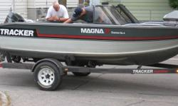 1989 tracker deep v boat, along with matching trailer and 60hp Evinrude.  17 feet long, 82 inches wide.  Interior in excellent condition, with 3 brand new seats, exterior is also  in very good condition with only minor scratches.  Walk through windshield,