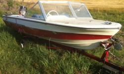 Want to trade my boat motor and trailed for a ski doo alpine sled. The boat hasn't been in the water for a few years. Fold out windshield, Steering cables are missing and lost the key. Motor is a 50hp merc approx 1970's. Unknow year of boat needs little
