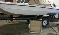 Has newer paint, seats have been recovered, new flooring/carpet about 4 years ago. 55lb front mount Minkota trolling motor with foot pedal. 55 hp Evinrude Motor, trailer, stereo system, fish finder, full enclosure. Open bow, 4 rod holders and 6 mounts for