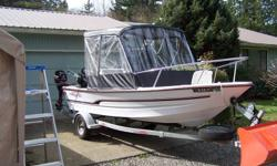 2004 Triumph  17ft centre console in excellent condition. 50hp Suzuki, 8hp Merc, Both 4 Strokes and run off same  tank, very fuel efficiant, 2 electric down riggers and rod holders, 2 fish finders, Fully enclosed canopy top, Comes with trailer and spare