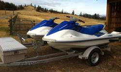 Two very nice 3 seater waverunners on a double ez loader trailer. Ready to go in the water, come with 4 lifejackets This ad was posted with the Kijiji Classifieds app.