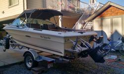 In very good shape for its age...and has a rebuilt 3.7 L Mercruiser inboard..recent new manifold and bigger 4 inch heat exchanger...boat also comes with brand new 2016 3500 lb roadrunner trailer with brakes and brand new 4 stroke kicker bracket...and new