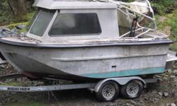 """19'5"""" heavy welded aluminum boat. With 2008 high liner trailer. Boat is a project. Needs to be completed. Boat is finished but everything else needs to be done including interior, outboard motor, controls, lights, etc. 250-888-6838 or 250-294-2612"""