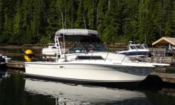 28' Wellcraft Coastal Power; Twin chevy 350's with 280 hours on remanufactured motors. Borg Warner Velvet drive transmissions. Auxiliary power 2010 Suzuki 9.9 high thrust low hours. Electronics; Garmin plotter, Furuno radar, Lowrance sounder, Prawn Puller