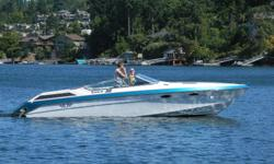 27' Wellcraft Nova 3 Scarab with Magnum tandem trailer. This head turning boat is powered by twin Mercruiser 335 HP, 350 engines and Mercruiser outdrives with stainless steel props. The boat has a full v-berth with sink, freshwater system, stereo,