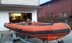 Commercial grade Zodiac hurricane 530 (17.5') rigid hull boat with hypalon tubes. It comes with a transom reinforcing motor well and tow post, 2 seat console, battery cables, basic wiring, hydraulic steering helm and hoses, bilge pump. The tubes have some